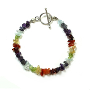 Chakra Bracelet with Silver Plated Toggle
