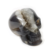 Grey Agate Skull Carving