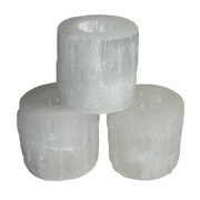 Selenite T-Light Holder Smooth Top