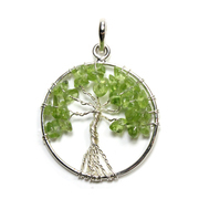 Tree of Life - Peridot Silver Plated Pendant