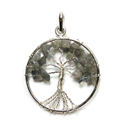 Tree of Life - Labradorite Silver Plated Pendant