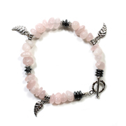 Rose Quartz Chip Bracelet with Charm