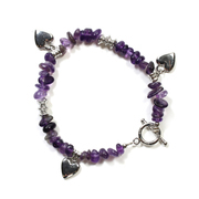 Amethyst Chip Bracelet with Charm