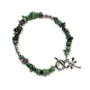 Ruby Zoisite Chip Bracelet with Charm