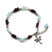Aquamarine and Garnet Chip Bracelet with Charm