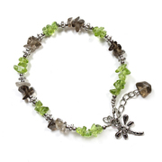 Peridot and Smoky Quartz Chip Bracelet with Charm