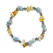 Aquamarine and Citrine Chip Bracelet with Charm