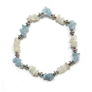 Aquamarine and Moonstone Crystal Chip Stretch Bracelet