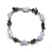 Blue Lace Agate and Iolite Crystal Chip Stretch Bracelet