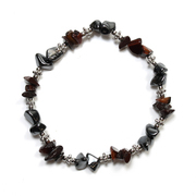 Hematite and Red Tiger Eye Chip Bracelet