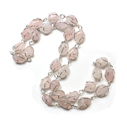 "Rose Quartz Wire Wrapped 28"" Necklace - Silver Plated"