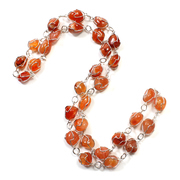 "Carnelian Wire Wrapped 28"" Necklace - Silver Plated"