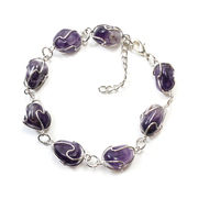 Wire Wrapped Amethyst Bracelet Silver Plated