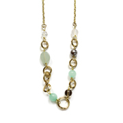"Gemstone Link Necklace 18"" - Gold Plated"