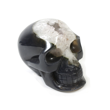 Carving Grey Agate Skull Carving 3.75- 4