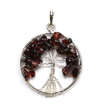 Tree of Life - Garnet Silver Plated Pendant