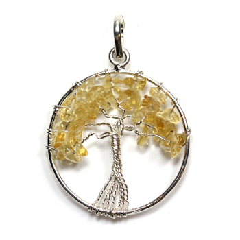 Tree of Life - Citrine Silver Plated Pendant