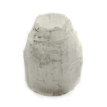 Selenite T-Light Holder Mountain Top