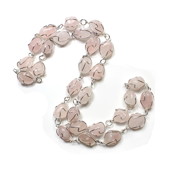 Wire Wrapped Rose Quartz Necklace Silver Plated 28