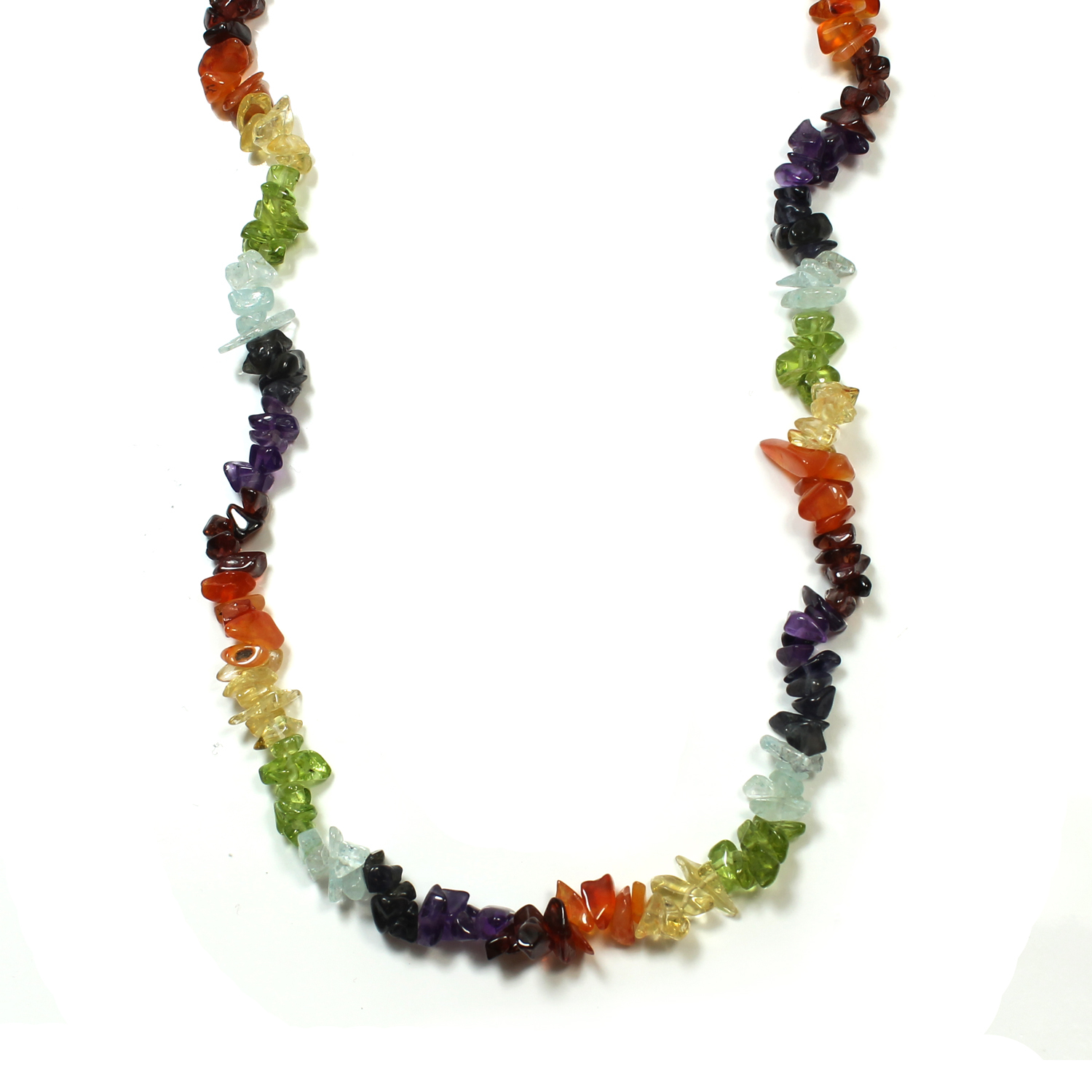 Chakra Gemstone Chip Necklace with Clasp