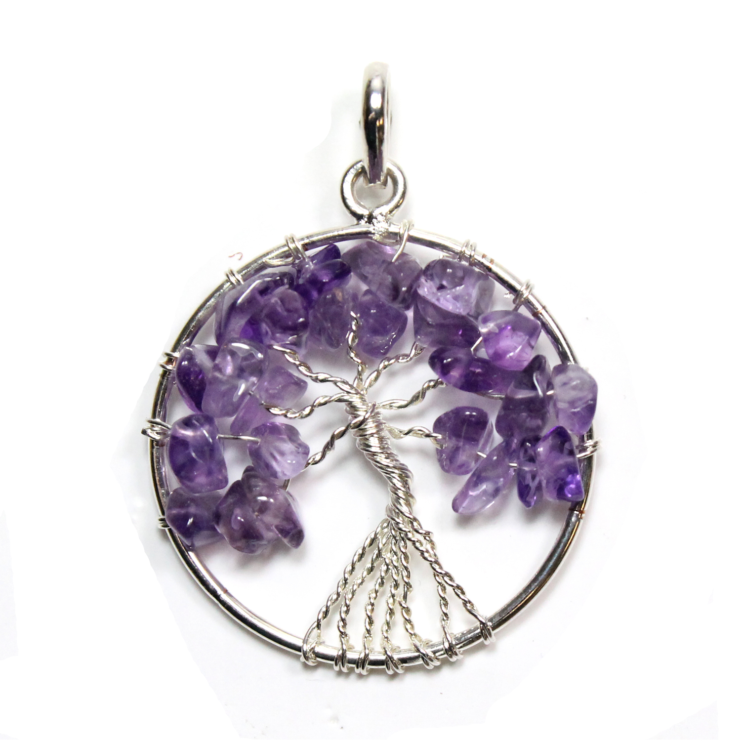 Tree Of Life Amethyst Silver Plated Pendant From