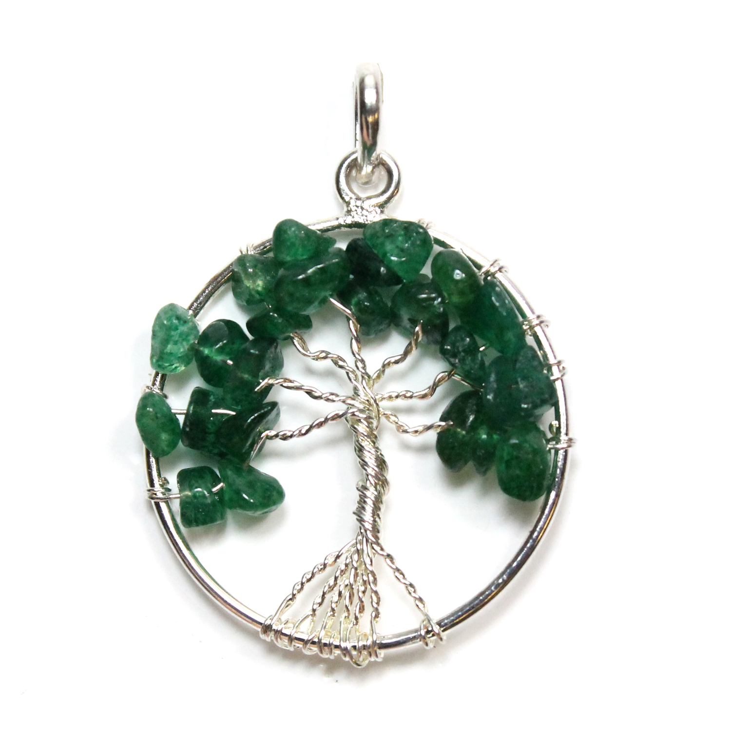 Tree of Life - Green Aventurine Silver Plated Pendant