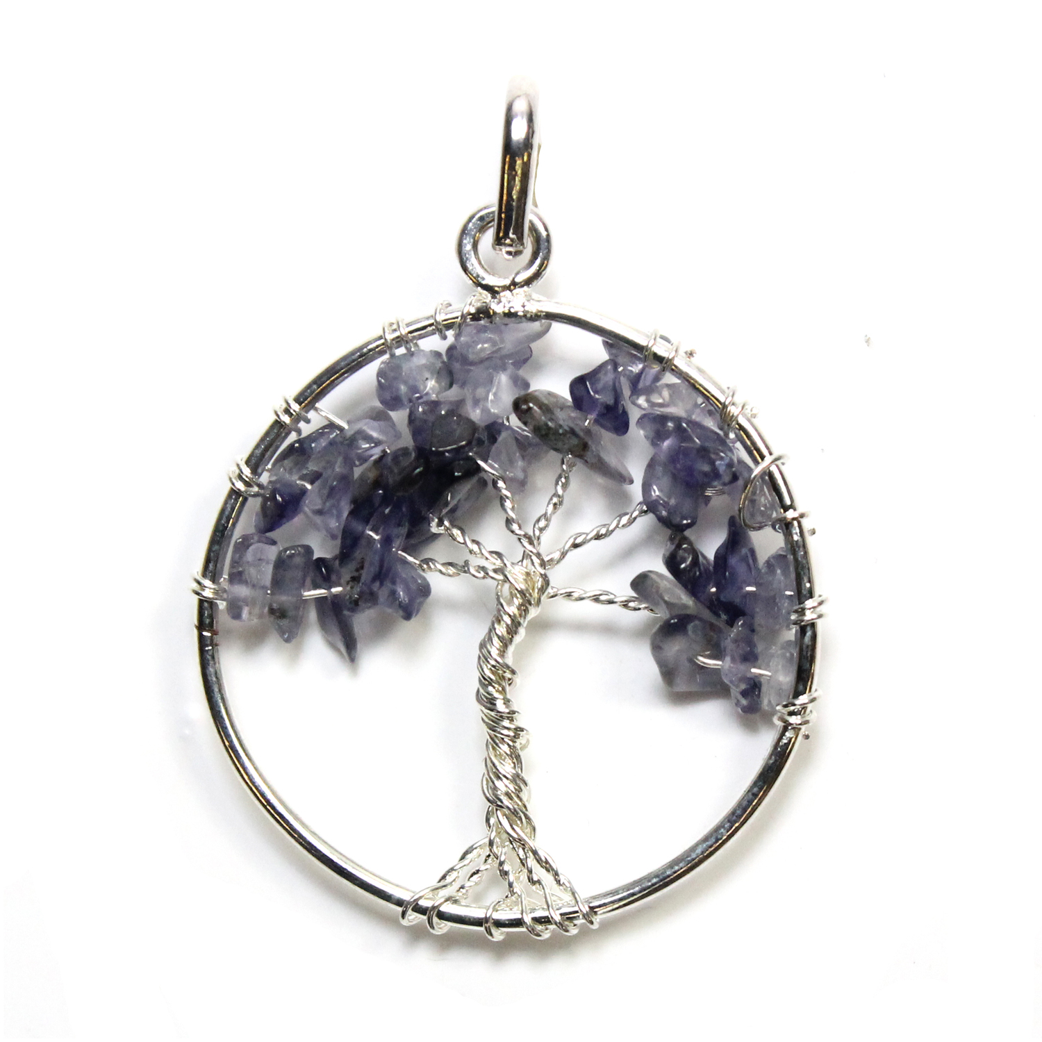 Tree of Life - Iolite Silver Plated Pendant